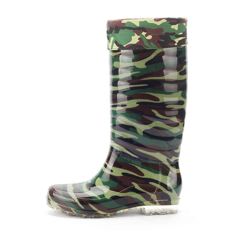 Waterproof Man Rainboots Camouflage Autumn Winter Warm Knee-High Male Boots PVC High Top Wading Shoes Velvet Outdoor Antiskid we image