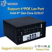 Yanling, промышленный мини-компьютер, Intel core i3-6100 CPU RS232 RS485 COM, 3 гигабитных lan, 4 порта POE, linux, прочный ПК