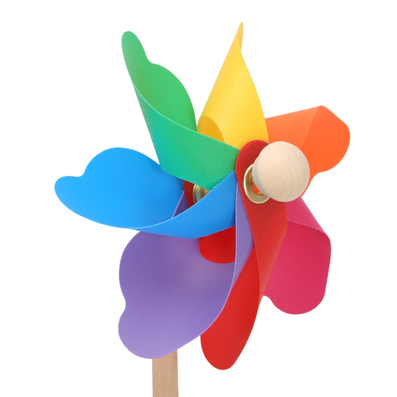 Wood Windmill Wind Spinner Pinwheels Home Garden Yard Decoration Kids Toys New