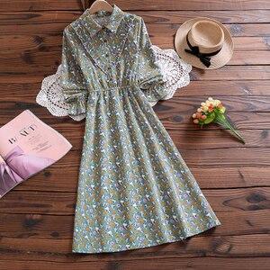 Image 4 - Mori Girl Sweet Dress Korean Fashion Autumn Women Floral Print Long Dresses Female Long Sleeve Dress vestidos de verano 2020