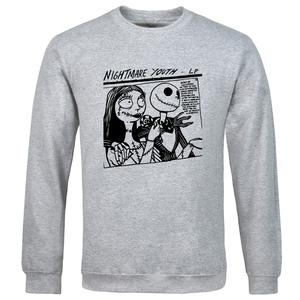 2020 Mens Long Sleeve Sweatshirt Hip Hop Vintage Skoll Printed spring autumn Nightmare Youth Anime Cartoon solid color tracksuit(China)