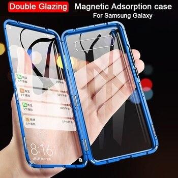 Перейти на Алиэкспресс и купить 360 полная защита Магнитный чехол для Samsung Galaxy S20 10 S9 S8 Plus закаленное стекло Магнитный чехол для Note 10 8 9 PLUS
