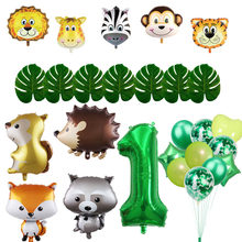 Jungle Theme Birthday Party Balloon Safari Air Globos Animal Balloons Green Numbers Foil Birthday Party Decorations Kids Baby(China)