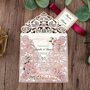 Image 4 - 100 piece Rose Gold Color Laser Cut Wedding Invitations with Gold Glitter Border and Envelope CW2519