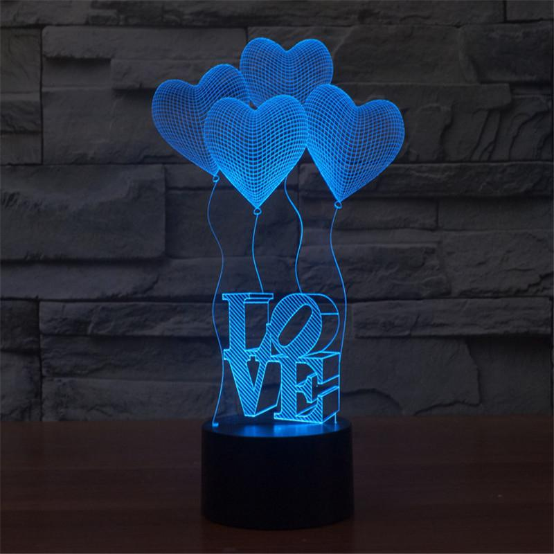 3D Love Balloons Light 7 Colors Change Art Sculpture Light Great Nightlight With A Soft Glow For Kids Gifts