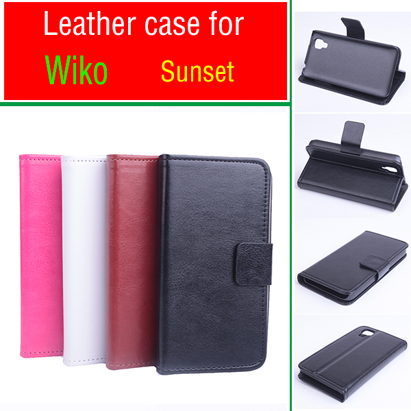 Роскошный чехол-кошелек с подставкой из искусственной кожи для Wiko Sunset, кожаный чехол с откидной крышкой и отделением для карт, черный, коричневый, белый, розовый