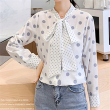 Korean Fashion Women Blouses Women Shirts Woman Chiffon Blouse Dot Shirt Plus Size Womens Tops and Blouses Blusas Mujer De Moda цена и фото