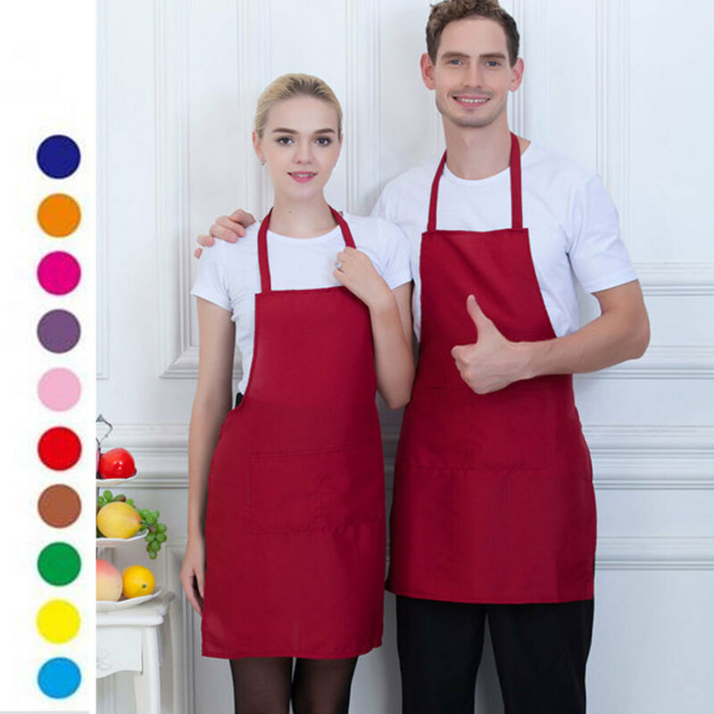 Chefs Apron 100% Cotton Catering With Bib Pockets Cooking Bbq Chef Black Aprons Solid Color Work Apron