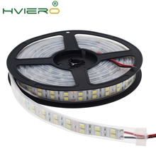 цена на 1Roll 5M Double Row 5050 SMD 600Leds Warm White Led Strip Light Ip67 Waterproof 12V DC Bar Garden Outdoor Holiday Desk Lamp