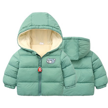 Winter Baby Boys Girls Jackets Thick Plus Velvet Warm Children's Coats Kids Down Cotton Jacket Hooded Outerwear Clothing 1-6 T все цены