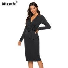 Missufe 2019 Autumn New Fashion Long Sleeve V Neck Binding Bow Wrap Bodycon Dress Tie Waist Sexy Slim Elegant Party Vestidos