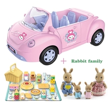 Convertible Car Forest Family Doll House Pink Picnic Car Set Dollhouse Furniture DIY Pretend Play set Rabbit Doll Girls Gifts