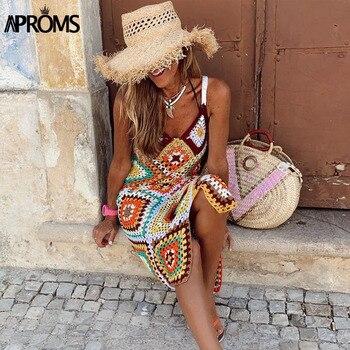 Apoms-Vestido largo bohemio multicolor de punto para mujer, Vestidos playeros sin mangas, ropa calada para la playa para verano 2020