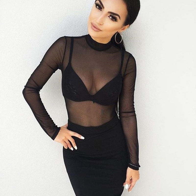 Summer Sexy Women Blouse Turtleneck Sheer Mesh Transparent Long Sleeve Tee Shirt Female Tops Clubwear