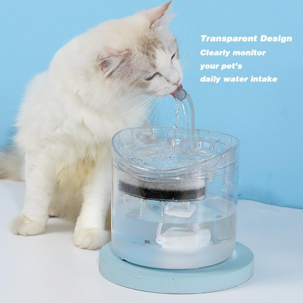 1.8L автоматический фонтан для кошек с водопроводом для собак, диспенсер для воды, прозрачные поилки для кошек, поилка для домашних животных, ...