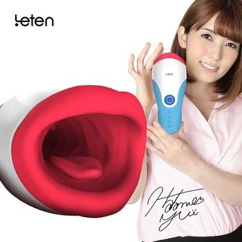 Masturbador vibrador Leten a prueba de agua taza para hombres sexo oral con AV star Yui Hatano sexo moan 10 modos juguetes de vibración sexo para hombres