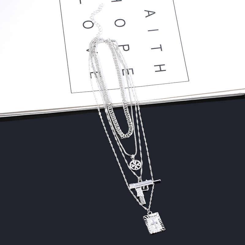 Nuovo A Più Strati Pistola Croce Hip Hop Della Collana di Stile Harajuku Gioelleria raffinata e alla moda Gesù Punk Del Pendente del Regalo Dei Monili