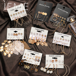 IF ME Fashion Gold Sequin Metal Geometric Drop Earring Set for Women Irregular Round Crystal Dangle Earrings Brincos Jewelry New