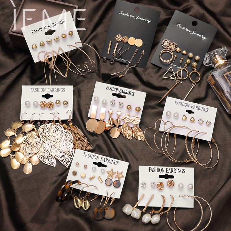 IF ME Fashion Gold Sequin Metal Geometric Drop Earring Set for Women Irregular Round Crystal Dangle Earrings Brincos Jewelry New