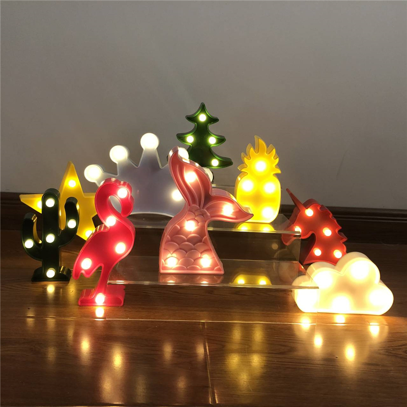 Pineapple Night Lights Children LED Illuminated Flamingo Unicorn Pendant Lamp Light Cactus Star Lamp Wall Lamp Lighting Decorati