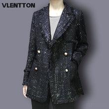 Женский клетчатый твидовый пиджак размера плюс на осень и зиму