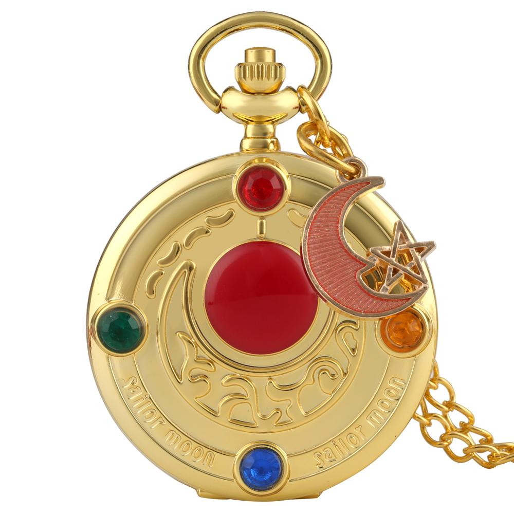 Adorable Color Diamond Case Cover Pocket Watch Delicate Sailor Moon Dial Pocket Watches For Female Fancy Red Moon Pendant Watch