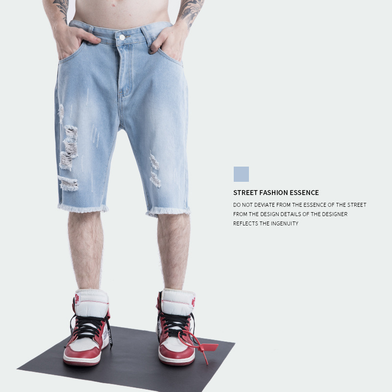 2018 Europe And America Popular Brand Spring And Summer New Style Men'S Wear High Street Washing Water With Holes Men's Casual J