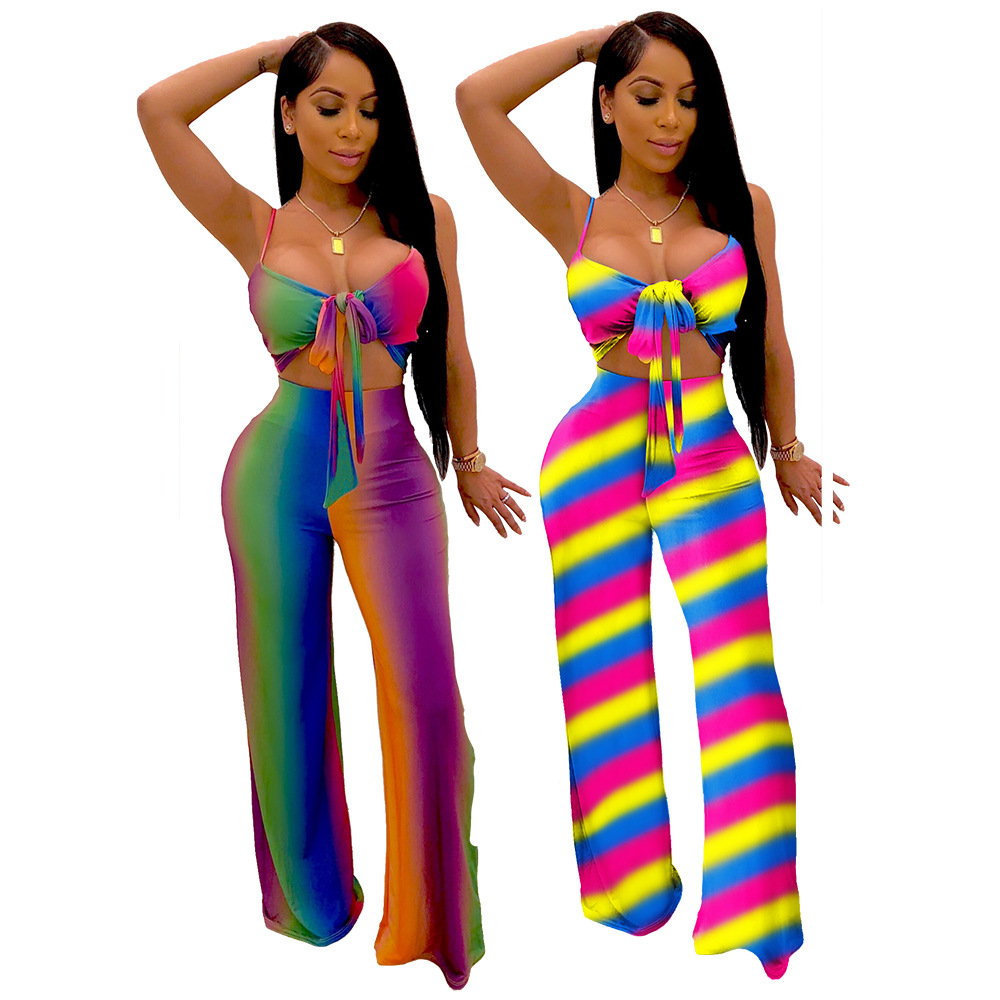 Hot Selling Europe And America WOMEN'S Dress Hot Sales Style Sexy Slim Fit Sheath Color Camisole Da Kuo Pants Suit