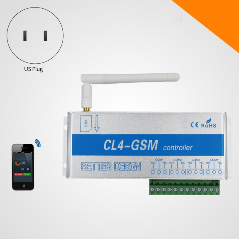 Promotion! 4 Channel Relay CL4-GSM SMS GSM APP Wireless Controller GSM Receiver And Switch Gate/Door Opener Operator For Home Al