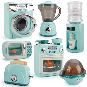Children Kitchen Toy Simulation Washing Machine Bread Maker Oven Microwave Girls Play House Role Play Interactive Toys