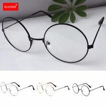 1pc montatura in metallo retrò occhiali con lenti trasparenti occhiali da vista occhiali Vintage occhiali da vista a cerchio tondo oversize in oro nero argento