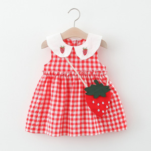 Little girl's dress 2020 summer 2 year old girl's birthday dress 6 months newborn toddler girl dress red cute dress plaid dress(China)