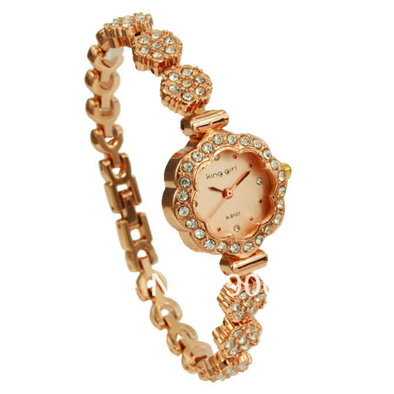 Fashion Women Watches Luxury Rose Gold Bracelet Crystal Womens Quartz relogio feminino