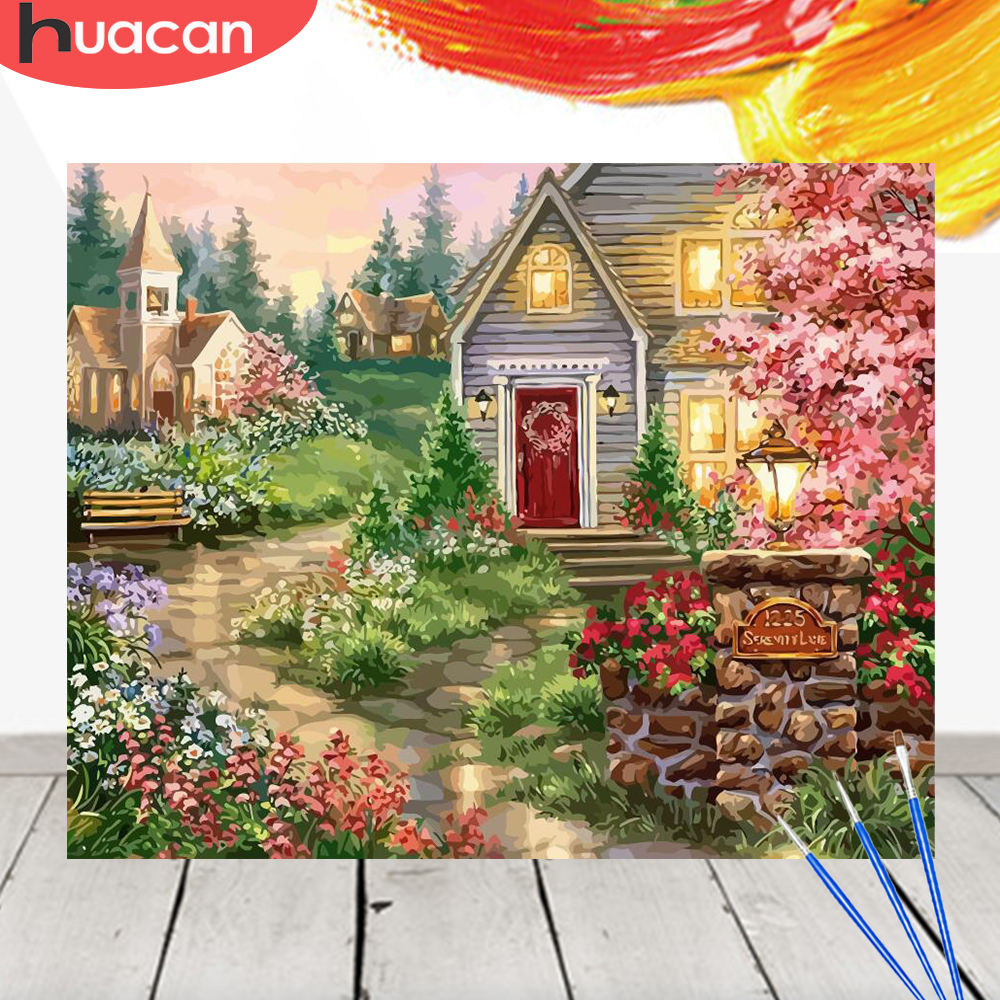 HUACAN Oil Painting By Numbers House Scenery Acrylic Drawing Canvas Picture For Adult Wall Art DIY Home Decor
