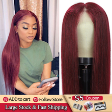 Human-Hair-Wigs Lace Wigs Lace-Front Brazilian Pre-Plucked Straight Women 99j/burgundy