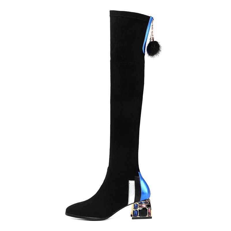Meotina invierno muslo botas altas mujeres cuero Real bloque alto tacón sobre la rodilla botas strass Slim estiramiento Zapatos Señora 34-39