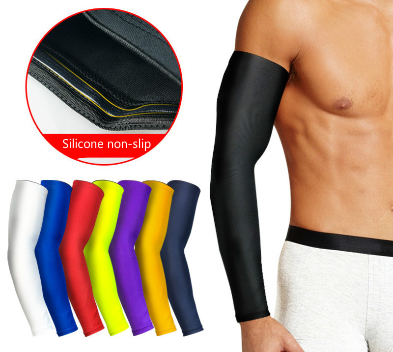 Ice Silk Sleeves Arm Compression UV Protection Riding Summer Basketball Outdoor Sports Sunscreen Cool Silicone Anti-skid Thin