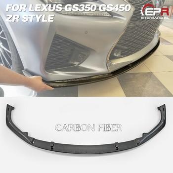Car-styling ZR Style Carbon Fiber Front Bumper Lip Glossy Finish Under Splitter Fibre Drift Part For Lexus 2016 On GS350 GS450