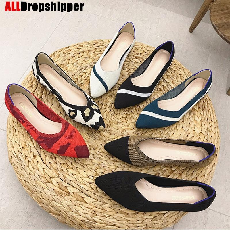 Женские вязаные туфли с острым носком; Женская обувь на плоской подошве; Балетки; Мокасины; Разноцветные туфли; Мягкая обувь для беременных; Zapatos De Mujer; 2020|Обувь без каблука| | АлиЭкспресс