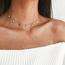 Simple Round Sequins Choker Chain Necklace Statement Women Clavicle Pendant Charm Necklace Jewelry fashion new multilayer exquisite pendant necklace round sequins bead clavicle chain choker necklace women