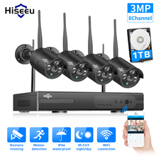 Hiseeu 8CH 무선 NVR 3MP HD 야외 홈 보안 카메라 시스템 CCTV 비디오 감시 NVR 키트 1536P Wifi 카메라 세트 블랙