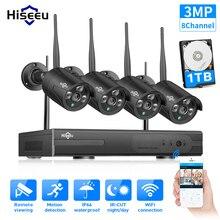 Hiseeu 8CHワイヤレスnvr 3MP hd屋外ホームセキュリティカメラシステムcctvビデオ監視nvrキット1536 1080p wifiカメラセット黒