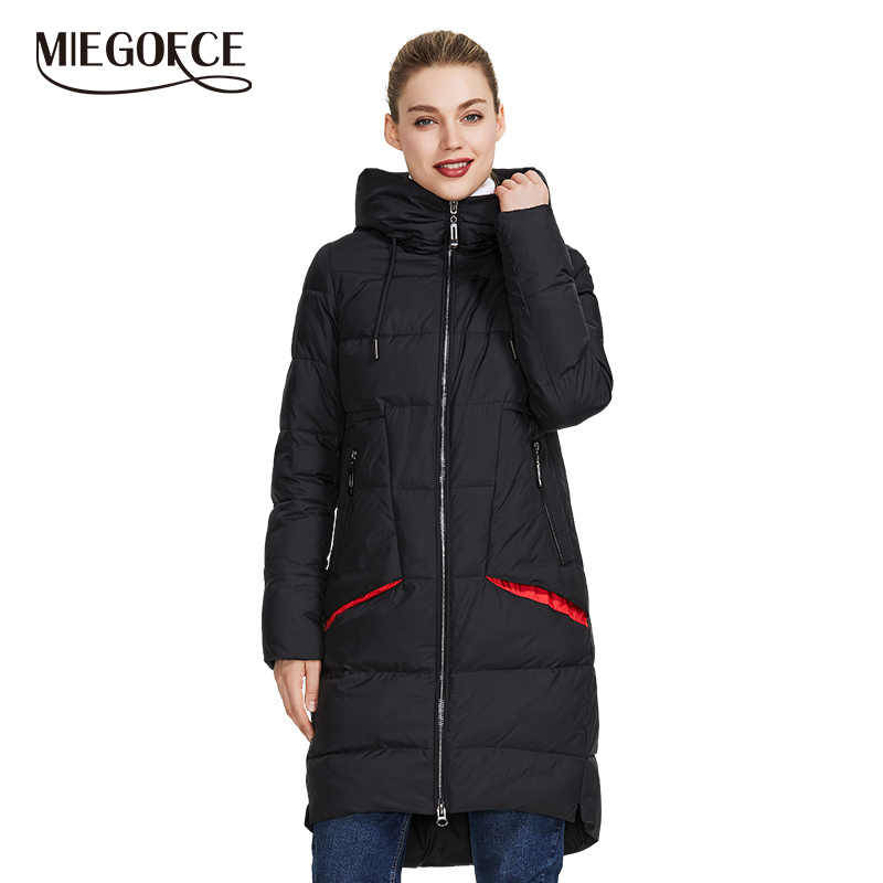 MIEGOFCE 2019 New Winter Women Collection of Coat Knee-Length Parka Women Windproof Women Jacket With Stand-Up Collar and Hood