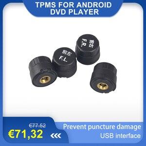 TPMS dla androida samochodowy odtwarzacz dvd odtwarzacz GPS samochód z nawigacją system monitorowania ciśnienia w oponach z 4 wewnętrznymi czujnikami opon interfejs USB