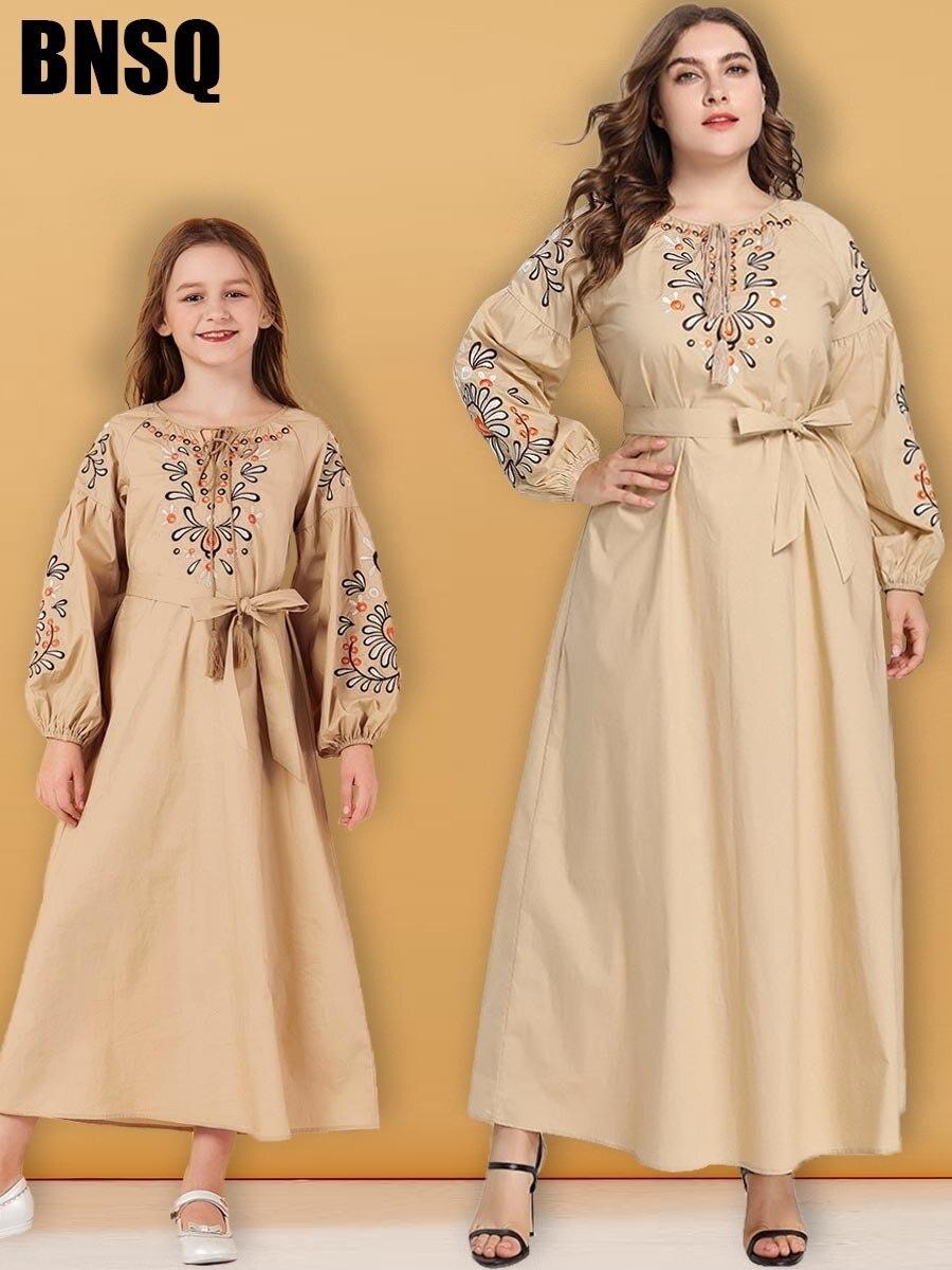 Mother Daughter Embroidery Maxi Dress Muslim Abaya Children's Wear Family Matching Outfits Kimono Long Robes Eid Ramadan Islamic
