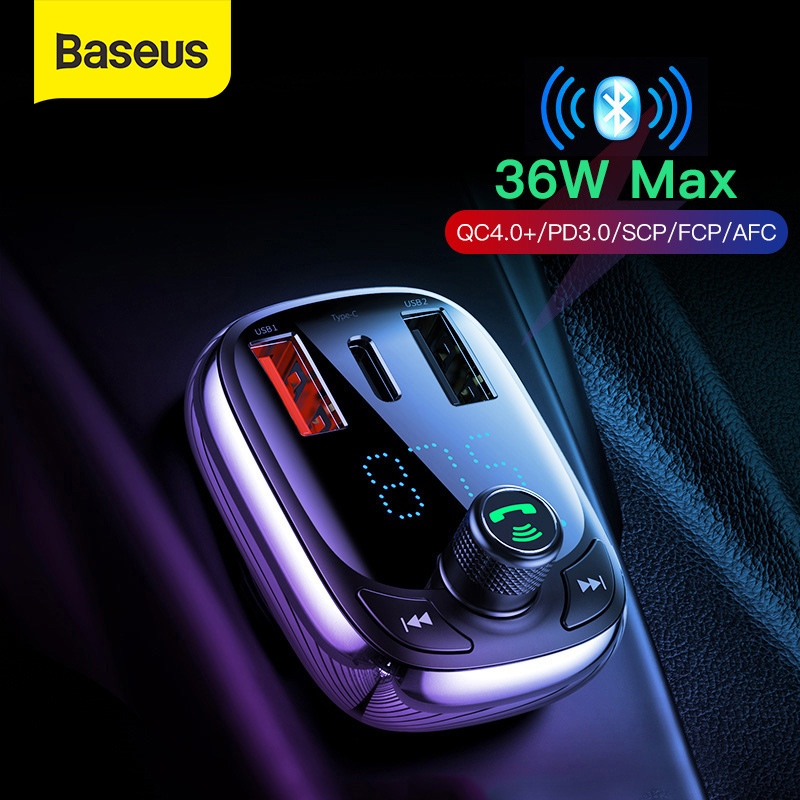 U Disk Wireless FM Radio Transmitter Adapter Car Kit Baseus FM Transmitter for Car TF Card MP3 Music Player Dual USB Charging Ports Hands Free Calling