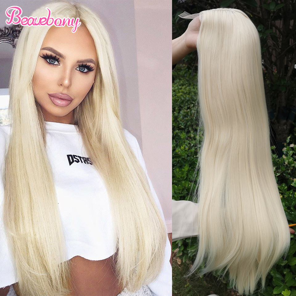 Beauebony Lace Wig Synthetic Hair Straight Long Wigs For Black Women Blonde Lace Wig Daily Use Synthetic Lace Wigs Free Shipping