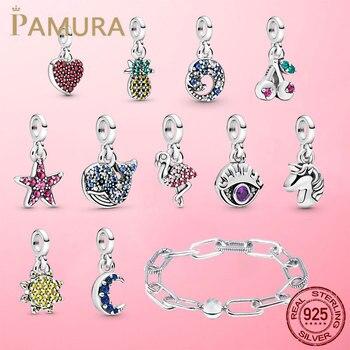 2020 New 925 Sterling Silver My Love Starfish Flamingo Pendant Charm Fit Original Pandora Me Bracelet DIY Bead Jewelry For Women
