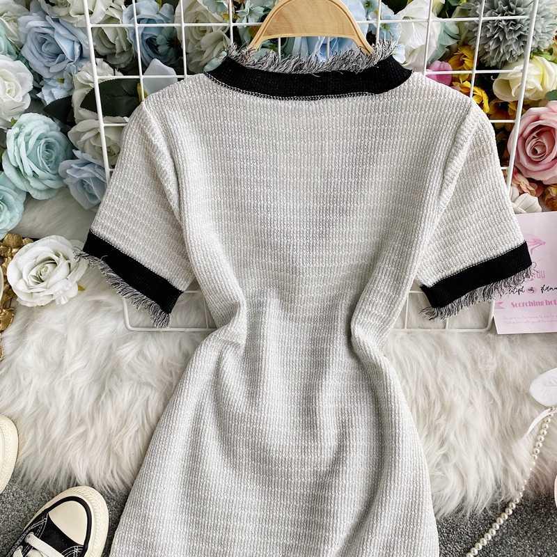 Neploe 2020 verão vestidos de malha tassel retalhos bolsos feminino camisola vestido de manga curta com decote em v bowknot 4b411
