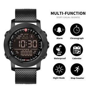 Image 2 - KADEMAN 2019 Luxus Sport Herren Uhren Schritte Zähler LED Digital Uhr 3ATM Mode Designer Casual Leder Armbanduhren Relogio